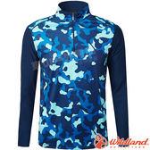 Wildland 荒野 0A61632-72深藍色 男彈性迷彩長袖功能衣 抗紫外線/吸濕排汗/休閒衫/迷彩裝/機能*