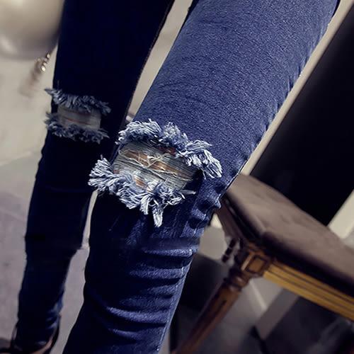 克妹Ke-Mei【AT39252】日本JP辛辣龐克膝蓋破洞水洗緊身牛仔褲