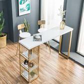 簡約金色鐵藝實木大理石靠墻小吧台隔斷美甲店長條家用椅合 極客玩家