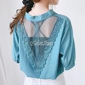 后背蕾絲襯衣女短袖2010夏新款V領洋氣寬鬆小心機網紗襯衫 母親節特惠