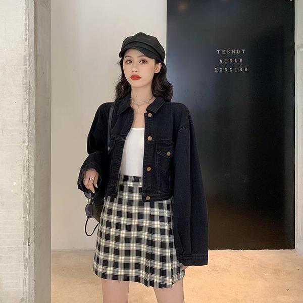 黑色牛仔外套女春秋韓版復古寬鬆長袖百搭短款夾克 - 風尚3C
