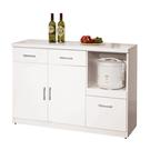 【森可家居】祖迪白色4尺碗碟櫃下座 10ZX643-5 餐櫃 收納廚房櫃 北歐風 MIT