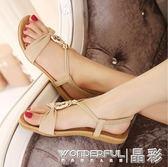 平底涼鞋 夏新羅馬女鞋大碼涼鞋小碼33平底平跟休閒沙灘鞋 晶彩生活