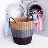 塑料藤編臟衣籃臟衣服收納筐衣物摺疊洗衣籃衣簍玩具桶編織框簍子WY【快速出貨八折一天】