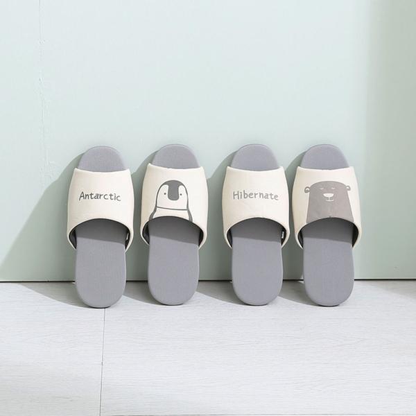 【333家居鞋館】瞬吸快乾 萌萌動物吸濕排汗室內拖鞋-北極熊咖