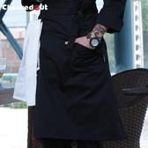 廚師圍裙半身男士圍裙奶茶店服務員廚房工作服圍腰定制咖啡店圍裙 黛尼時尚精品