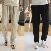 夏季中國風亞麻褲男薄款寬鬆休閒褲哈倫褲九分褲棉麻燈籠褲子男士 衣櫥秘密
