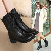 短靴 馬丁靴女英倫風粗跟中筒短靴平底真皮加絨刷毛靴子中跟女靴秋冬季女鞋 最後一天85折