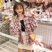 早秋上衣慵懶風流行女裝韓版寬鬆學生格子長袖襯衫女 辛瑞拉