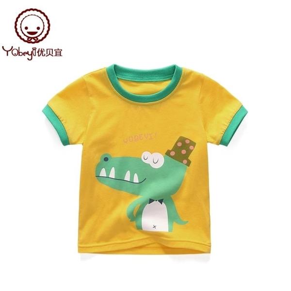 兒童圓領短袖T恤夏季寶寶薄款上衣 男童女童卡通衣服夏裝 萬客城