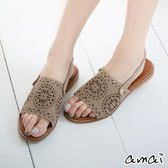 amai柔軟親膚-復古絨面雕花鏤空勾帶涼鞋 灰