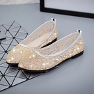 草編鞋 夏季草編漁夫鞋女平底老北京布鞋蕾絲網面鏤空一腳蹬懶人單鞋-Ballet朵朵