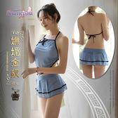 969情趣~《SHIMEISHA》嫵媚金釵!薄透綁脖網紗肚兜款睡衣﹝藍﹞