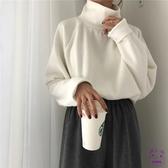 針織毛衣 2019新款正韓領加厚長袖針織衫百搭寬鬆套頭學生打底衫毛衣女秋