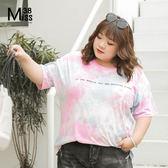 Miss38-(現貨)【A05623】大尺碼短袖上衣 夏季夢幻漸變色 迷彩暈染 純棉寬鬆T恤-中大尺碼