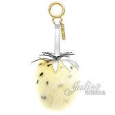 茱麗葉精品【全新現貨】FFENDI 7AR677 草莓毛球造型鑰匙圈.銀/淺黃