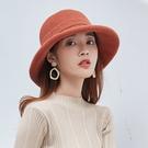帽子女秋冬甜美可愛毛呢漁夫帽針織捲邊日繫韓版百搭時尚英倫盆帽
