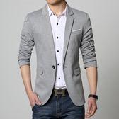 季薄款休閒西服男修身帥氣青年韓版小西裝男士外套潮單上衣『潮流世家』
