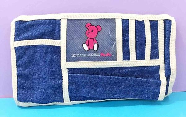 【震撼精品百貨】PostPet_MOMO熊~MOMO熊車用置物袋/收納袋~牛仔藍色#85911