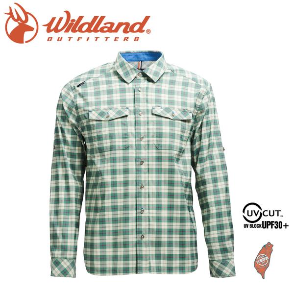 【Wildland 荒野 男 彈性抗UV格子長袖襯衫《灰綠》】0A71206/防曬襯衫/登山休閒服/彈性纖維/旅遊