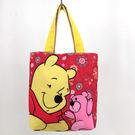 迪士尼維尼小熊紅色帆布手提袋便當袋隨身袋購物袋收納袋女衣