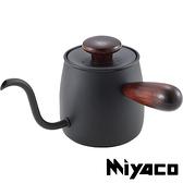 【Miyaco】MCO-6木柄單人茶壺『黑色』400ml 居家.露營.戶外.水壺.泡茶.泡咖啡.野炊 K013216