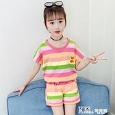 女童套裝-女童網紅套裝2021新款洋氣夏裝兒童寶寶純棉短袖短褲韓版兩件套潮