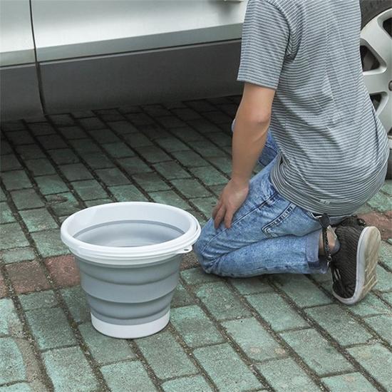 提桶 水桶 手提水桶 可伸縮 塑料桶 蔬果 洗臉盆 收納桶 中 折疊式 手提水桶【S062】生活家精品