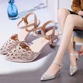 涼鞋夏中低跟5cm女韓版時尚鏤空包頭涼鞋尖頭chic仙女晚晚細高跟 印象部落