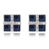 水晶耳環 925純銀(耳針式)-正方形鑲鑽生日情人節禮物女飾品4色73bd49【時尚巴黎】