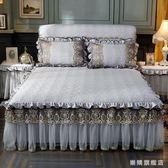 水洗布蕾絲單件床裙夾棉加厚床罩歐式絎縫花邊床套加棉wy
