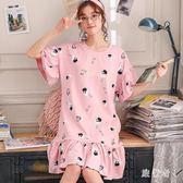 睡裙 女夏季棉質短袖睡衣大碼學生寬鬆可愛全棉女士裙子家居服 BT2673【旅行者】