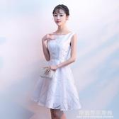 白色小晚禮服裙女2020新款夏季生日派對洋裝畢業連身裙短款伴娘服