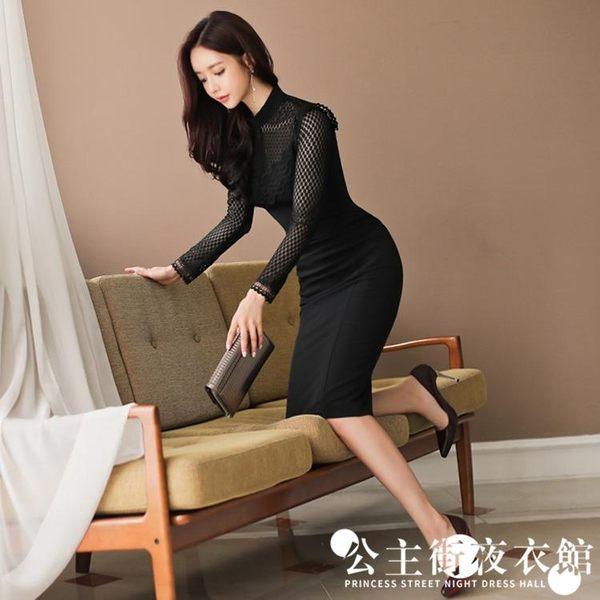 早秋名媛女時尚性感透視蕾絲修身長袖包臀中長款洋裝連身裙
