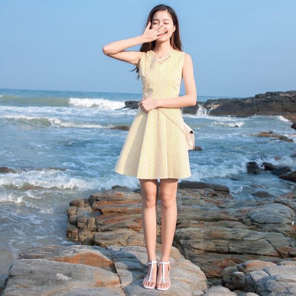 VK旗艦店 韓系顯瘦條紋背心海邊度假無袖洋裝