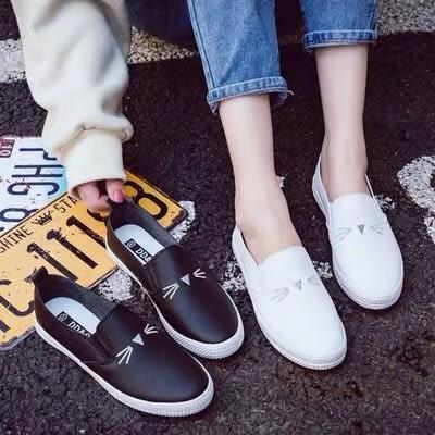 [Here Shoes]休閒鞋-貓臉刺繡 皮革拼接帆布 簡約百搭 舒適好穿帆布鞋 懶人鞋 小白鞋-ANW8072