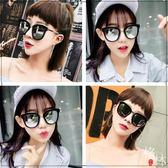 潮方形男超黑百搭墨鏡大方框眼鏡款太陽鏡女圓臉 【格林世家】