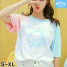 【V2944】shiny藍格子-甜美夏日.拼色撞色字母印花圓領短袖上衣