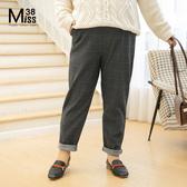 Miss38-(現貨)【A09108】大尺碼西裝長褲 復古英倫風 千鳥格子 磨毛保暖 有口袋 鬆緊高腰-中大尺碼
