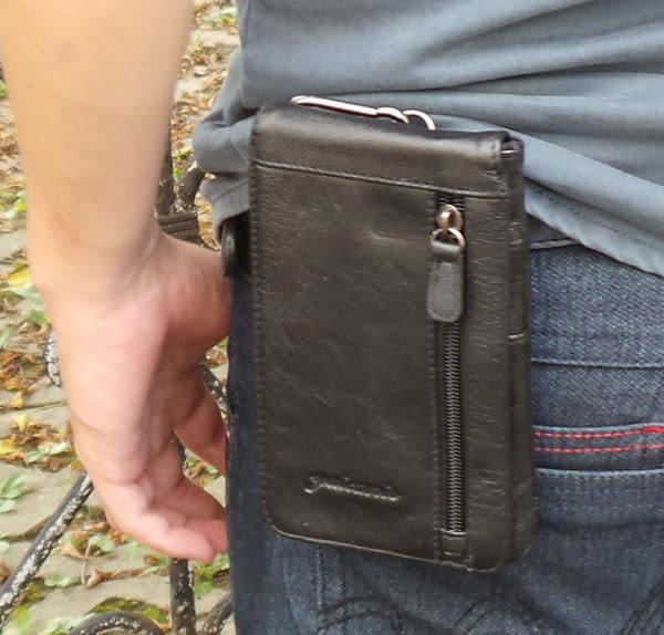 真皮超薄腰包5寸至6.5寸手機袋-黑色