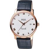 MIDO美度 Baroncelli III 羅馬機械錶-銀x玫塊金框x黑色錶帶/39mm M0274073601300