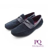 PQ(男)方頭質感皮革休閒鞋 男鞋 - 藍(另有黑)