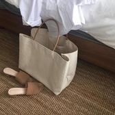 促銷韓東簡約大容量帆布包ins爆款購物包手提包女大包 宜室