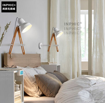 INPHIC- 北歐現代簡約個性實木鐵藝可調節壁燈走廊床頭陽臺樓梯壁燈_S197C