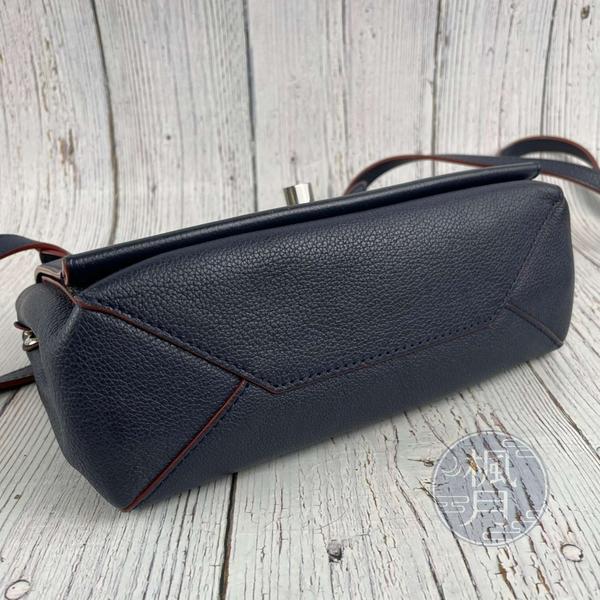 BRAND楓月 LOUIS VUITTON LV M43391 LOCKME 深藍色 紅色油邊 皮革 銀釦 側背包