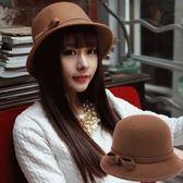蝴蝶結圓頂禮帽女韓版仿羊毛呢盆帽漁夫帽英倫復古毛氈帽子 黛尼時尚精品