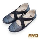 氣墊涼鞋 氣質瑪莉珍交叉款磁石真皮厚底球囊氣墊涼鞋-MIT手工鞋(星空藍) Normady 諾曼地