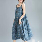 依多多 藍底小花朵無袖寬鬆長裙 1色(均碼)