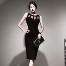 歐媛韓版 夏裝新款名媛氣質洋裝 修身拼接網紗包臀顯瘦女人味連身裙禮服  店慶降價