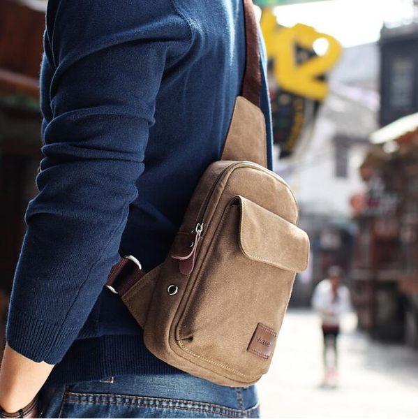 胸包男單肩包韓版帆布斜挎包男士包包休閒運動學生小背包